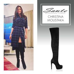 Christina Moustaka in SANTE Over-the-knee Boots #BuyWearEnjoy #CelebritiesinSante Available in stores & online: www.santeshoes.com