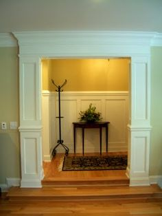 Door Casing,  Board & Batten Paneling Door Trims, Crown Moldings, Moulding, Door Molding, Moldings And Trim, Molding Ideas, Architrave, Interior Columns, Interior Trim