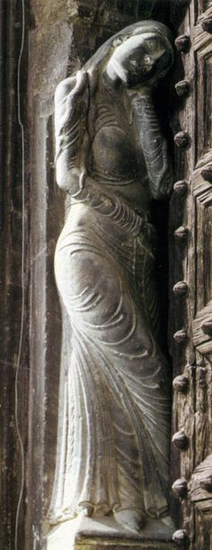 12th (ca. 1175-1200?) century Italy    Eve, Lodi Cathedral portal figure