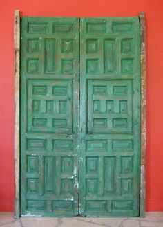 Mexican Colonial Door. Spanish Cedar. From an old Mexican Convent. Love these colors together.