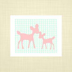 Deers pink and mint green Kids Wall Art Nursery art by RosyHuesArt, $14.00
