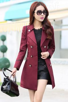 Yellow/Blue/Red/Green Sailor Collar Double-Brested Trench Coat http://www.dressve.com/shop-11027736.html