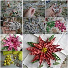 DIY Woven Paper Poinsettia the Christmas Star thumb Simple Flowers, Metal Flowers, Paper Flowers, Paper Basket Weaving, Deco Kids, Newspaper Crafts, Christmas Star, Diy Weihnachten, Flower Tutorial