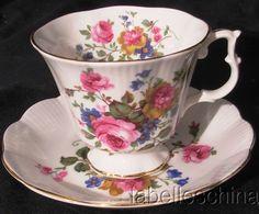Royal Albert England Tea Cup and Saucer Summer Floral Fluted Gold Teacup Duo Set #RoyalAlbert