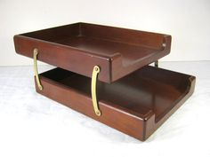 Vintage Wood Desk Tray 2 Tier  MAD MEN Retro Style!  by LavenderGardenCottag