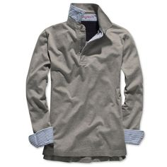 Grey Marl Long Sleeve Pima Polo Shirt $69