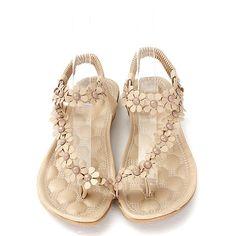 04cb62761246 High-quality Bohemia Flowers Strappy Y Shape Splice Clip Toe Flat Slip On  Sandals -