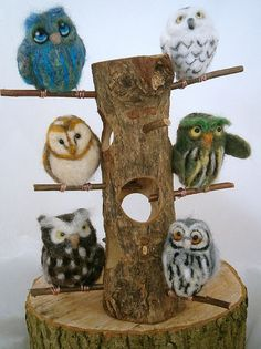 Needle Felted Owls. Fieltro con aguja