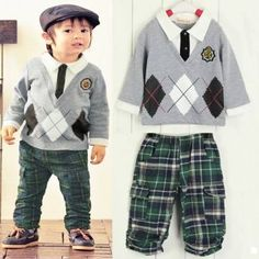 Do you want to shop it ????  Boys Children Long Sleeve Cotton Checks Sports Outfits And Sets