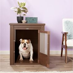 End Table Dog Bed, Dog Crate End Table, Door Furniture, Furniture Styles, Wire Crate, New Age, Single Doors, Dog Houses, Little Dogs