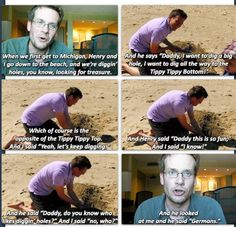 """""""Daddy, do you know who likes diggin' holes?"""" John Green and his son, Henry. John Green Libros, John Green Books, Funny Quotes, Funny Memes, Jokes, Jhon Green, Fandoms, Lol, The Fault In Our Stars"""