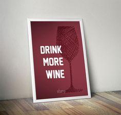 Poster Drink more wine - COM MOLDURA - stamp