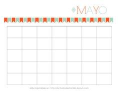 Calendarios Personalizables: Calendario de Mayo