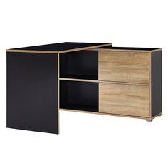 Stylowe biurko drewniane czarne półki