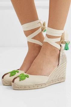bc40b483f05 Castañer - + Mercedes Salazar Carina 80 embroidered canvas wedge espadrilles