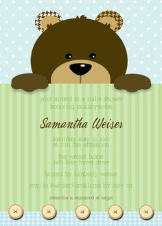 Teddy Bear Baby Shower Invitation for Boy or Girl, 5x7 PRINTABLE. $18.00, via Etsy. @Meghan Krane Linthicum. @Sharon Macdonald Linthicum. I really want this one.