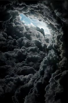 black clouds,  eye of storm