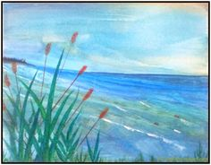 Beautiful Place By The Sea Paiting with watercolor on canvas #One nice evening @ Ogunquit, Main, USA
