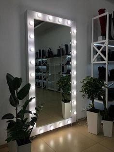 This beautiful handmade Showroom Hollywood Mirror with lights ideal for beauty salons, shops, exhibition halls and showrooms. The mirror is of high quality, with a frame made of natural wood. You can choose the color of the frame, as well as the size that you need. For this to write in