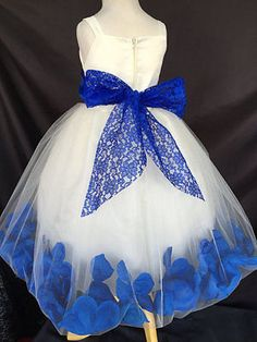 Flower Girl Summer Ivory Lace Royal Blue Rose Petal Dress Pageant Easter #0040