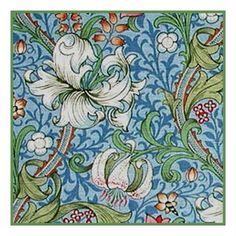 Arts & Crafts Style William Morris Golden Lily Blue Counted Cross Stitch Chart