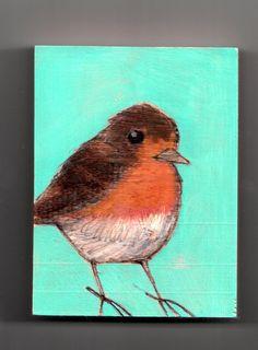 original bird painting on wood block