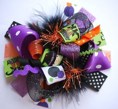 boutique FUNKY fun WITCHIE POO halloween hair bow clip. $12.99, via Etsy.