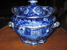 Historic-Blue-Staffordshire-Sugar-Bowl-Baltimore-Alms-House-7-W-by-6-H
