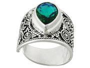 Artisan Gem Collection Of Bali (Tm) Rainbow Green Quartz Triplet Sterling Silver Ring (SRA006)
