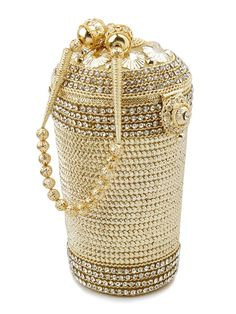 Exclusive golden cream color brass metal #Potli #Purse embellished with sparkling diamantes. Item Code: SJBP2004A http://www.bharatplaza.com/new-arrivals/accessories.html