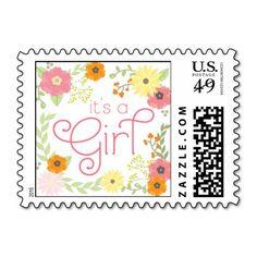 Sweet Flower Garden Baby Shower Stamps