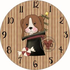 13-Christmas Puppy Clock Face Printable