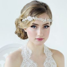 Bridal hairvine.Cz crystals and  freshwater by TalyasTreasures