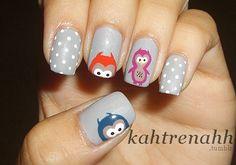 Blue + Red + Purple + Gray + White Polka Dot Owl Mani