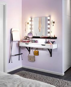 Beauty Helpers: 25 Vanity Tables Interiorforlife.com The perfect dressing table for ladies with limited space.