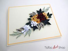Quilled Mother's Day Card with Handmade Flowers by TipTopArtShop