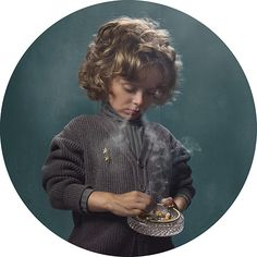 Big Pic - Smoking Kids: young boy with blond hair and jumper smoking
