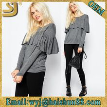 Plain ladies fashion designs grey and black cotton long sleeve elongated t shirtBest Seller follow this link http://shopingayo.space