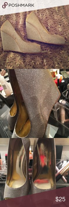 Size 9 champagne wedge Size 9 champagne shimmer color wore 1x very comfortable for a night on the town Shoes Wedges