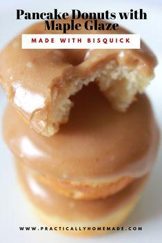Pancake Mix Donuts with Maple Glaze pancake donuts with maple glaze Tasty Pancakes, Homemade Pancakes, Mini Pancakes, Homemade Breakfast, Homemade Baked Donuts, Homemade Doughnut Recipe, Homemade Brioche, Breakfast Pancakes, Maple Doughnut Glaze Recipe