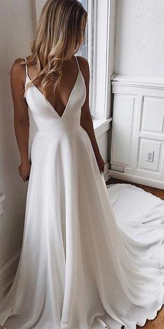 White Satin A-Line V-Neck Lace Spaghetti Straps Prom / Wedding Dress with Sweep . - White Satin A-Line V-Neck Lace Spaghetti Straps Prom / Wedding Dress with Sweep Train, – Ne - White Wedding Dresses, Bridal Dresses, Wedding Gowns, White Simple Wedding Dress, Elegant Dresses, Formal Dresses, Classic Wedding Dress, White Long Prom Dresses, Wedding Dress Not White