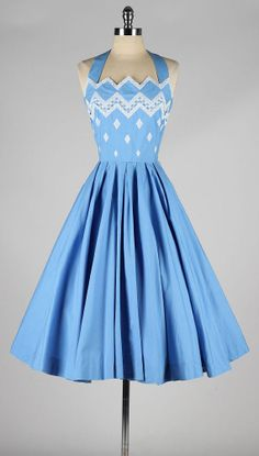 vintage 1950s halter neck blue cotton dress- Trying to think of a good way to con my momma into making this for me!