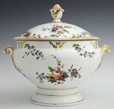 Painting Antique Tureen | Old Paris Porcelain Covered Footed Tureen, The Lid With A Gilt Fruit ...