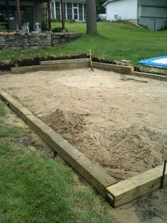 Sand Base for Intex Pool: I have a 12 x 24 intex pool and hired an excavator to level out the slope in my yard. He dug a hole 29 on the near side and removed the grade out pool ideas