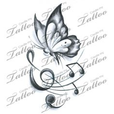Marketplace Tattoo Butterfly Music #19176 | CreateMyTattoo.com