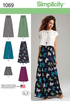 Simplicity Creative Group - Misses' Wide Leg Pants or Shorts & Skirts in 2 Lengths