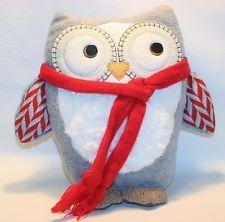 "10"" Animal Adventure Gray blue Plush Owl scarf Stuffed Lovey Toy"