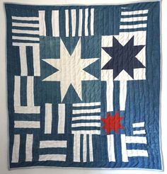 The Sky Quilt, built with cotton and hand dyed indigo linen dyed by Ebony Porter. Entirely hand quilted. 2015.