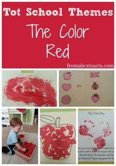 Tot School Themes - Learning all about the color red with sensory play, fine motor practice, painting, stories, and games - From ABCs to ACTs