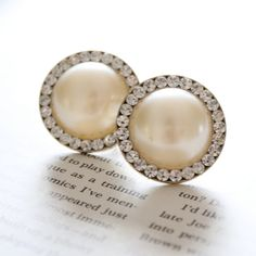 Wedding Plugs White Faux Pearl and Rhinestones Gauges